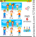 finding differences game with happy children 57364398