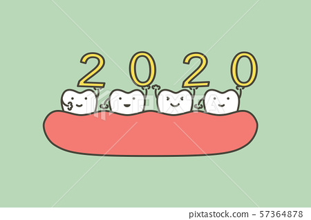 Happy New Year 2020, tooth with number 57364878