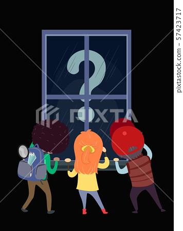 Stickman Kids Window Seeking Question Mark 57423717