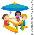 Stickman Kids Picnic Table Sand Illustration 57423765