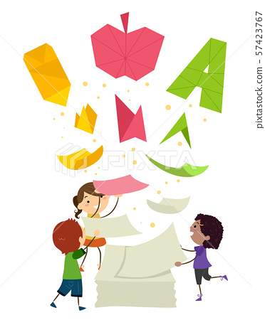 Stickman Kids Papers Transformation Education 57423767
