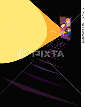 Stickman Kids Door Stairs Flashlight Illustration 57423798