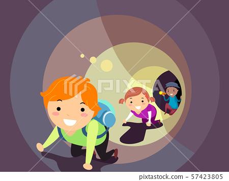Stickman Kids Crawl Tunnel Flashlight Illustration 57423805