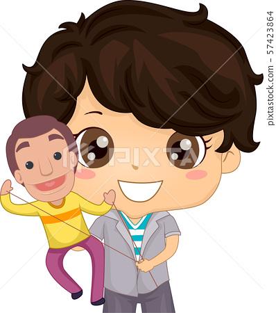 Kid Boy Puppet Play Illustration 57423864