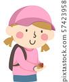 Kid Girl Snail On Hand Illustration 57423958