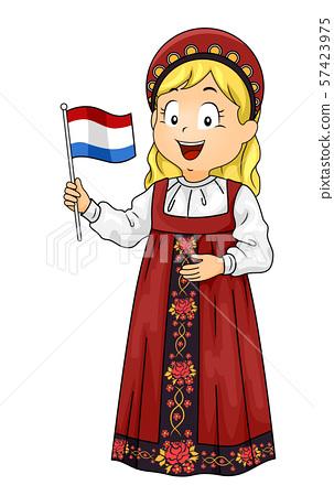 Kid Girl Russian Flag Illustration 57423975