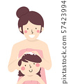 Kid Girl Mom Shampoo Hair Illustration 57423994