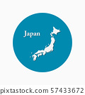 Japan country map japanese islands vector template 57433672