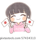 手绘风格/支持日本的人 57434313