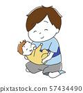 웃고있는 아기를 안고 소년 57434490