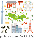 도쿄도 특산품 관광 일러스트 세트 57436174