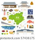 도쿠시마 현 특산품 관광 일러스트 세트 57436175