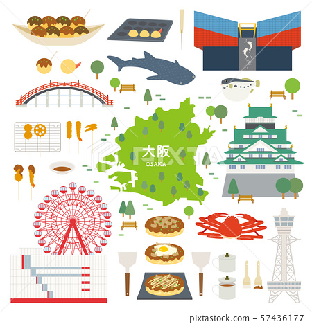 Osaka Prefecture special product sightseeing illustration set 57436177