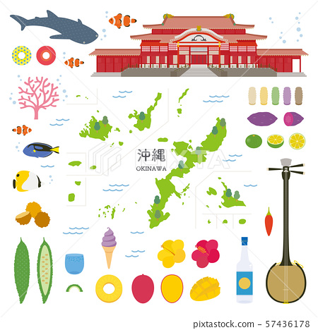 Okinawa Prefecture special product sightseeing illustration set 57436178