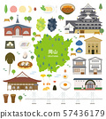 Okayama Prefecture special product sightseeing illustration set 57436179