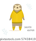 Funny sloth in a knitted sweater. Holiday print 57438419