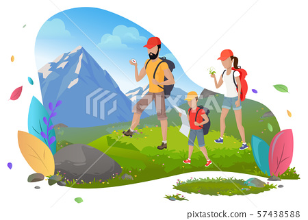 Family Hiking, Mountain Tourism, Outdoor Activity 57438588