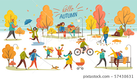 Hello Autumn People Walking in Park Fall Vector 57438631