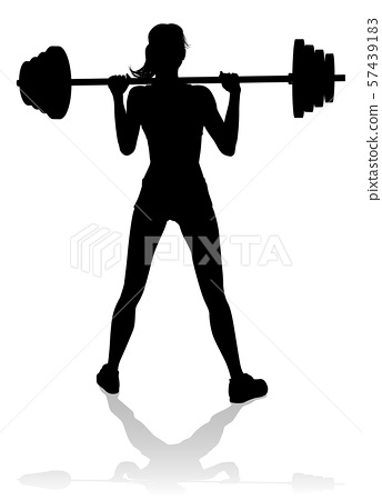 Gym Woman Silhouette Barbell Weights 57439183