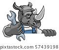 Rhino Plumber Or Mechanic Holding Spanner 57439198