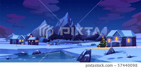 Christmas night in mountain city or Canada, xmas 57440098