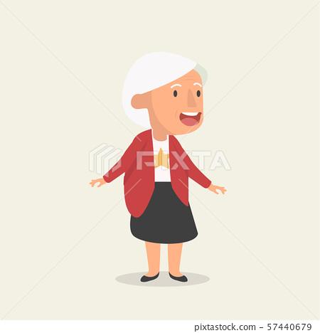 old woman flat cartoon illustration 57440679
