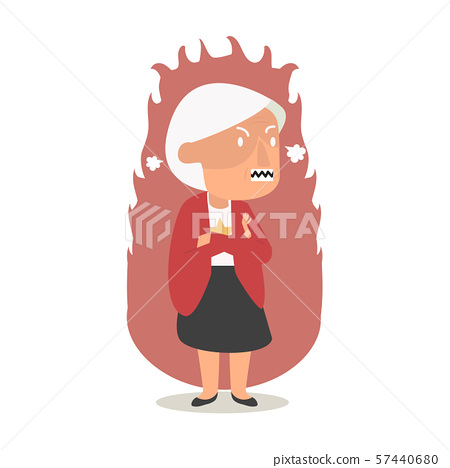 Angry  old woman flat cartoon illustration 57440680