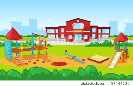 School Building and Yard Playground for Kids City 57444186
