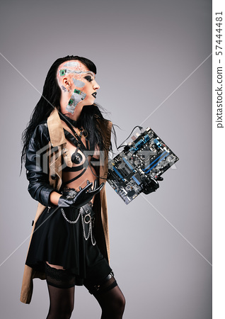 woman, motherboard, computer 57444481