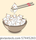 Hand drawn kawaii cats in the bowl with chopsticks 57445263