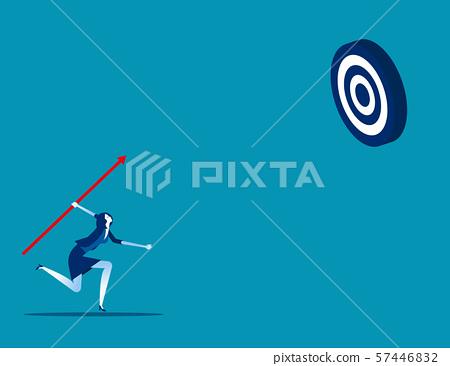 Businesswoman shooting aim target. Concept 57446832