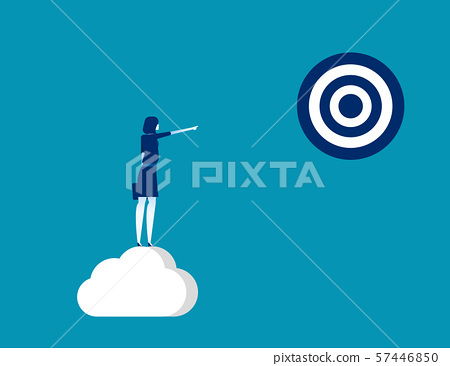 Businesswoman pointing to target. Concept business 57446850