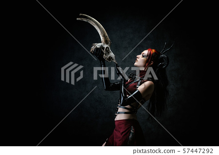 woman, witch, horns 57447292
