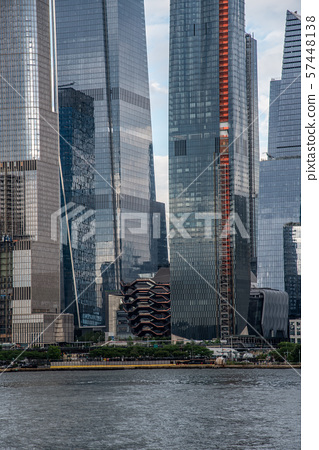 Hudson Yards from a boat in the Hudson River 57448138