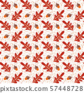 Seamless pattern with acorns and autumn oak leaves in Orange and Brown. Perfect for wallpaper, gift 57448728