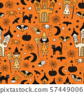 Kids Halloween background. Seamless vector pattern with hand drawn witch, spooky castle, cats 57449006