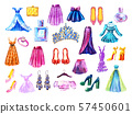 Fashion set. Watercolor hand drawn collection of dresses and accessories 57450601