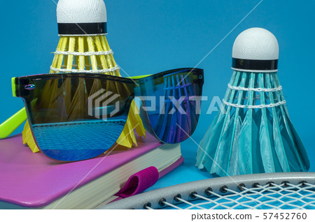 Colorful badminton shuttlecocks with sunglasses 57452760