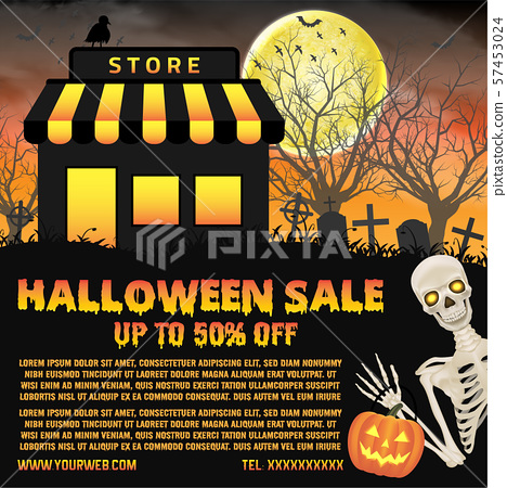 halloween shop sale with graveyard background poster 57453024