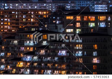 """""""神奈川縣""""安靜的住宅區的夜景·川崎市的郊區 57453063"""