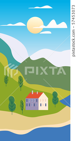 Autumn landscape rural suburban traditional buildings, hills and trees mountains sea ocean sun in 57453073