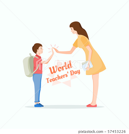 Young teacher giving high five to a cute student. World Teacher's Day concept. 57453226