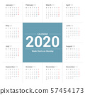 Calendar 2020 simple style on white background. Week starts on Monday. 57454173