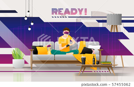 Happy young man wearing virtual reality headset and playing video game in living room, relaxing weekend at home 57455062