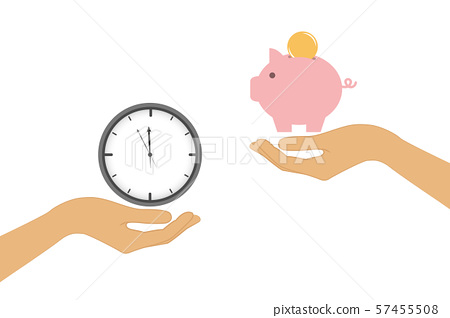 time and money change concept with human hands 57455508