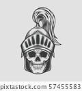 Head Skull with Knight Warrior Helmet. Vector Illustration 57455583