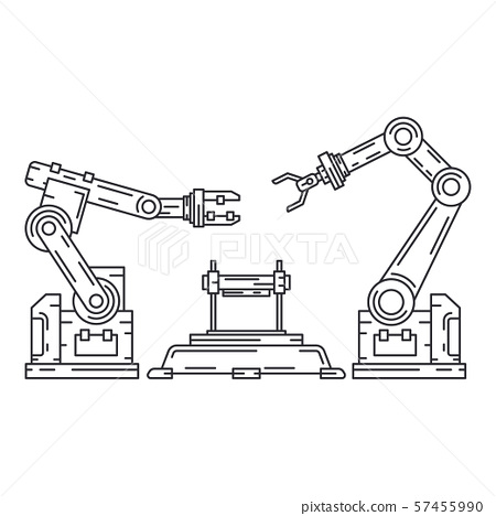 Line flat vector icon factory conveyor robot arm system. Automatic industry assembly robotic 57455990