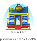 Fitness club building facade, gym front view 57455997