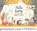 Funny animals meeting autumn in the forest 57456551