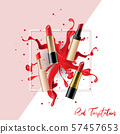 Realistic Lipstick Collection Set with color splashing, Vector Illustration 57457653